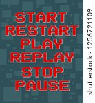 red pixel retro different texts ... | Shutterstock .eps vector #1256721109
