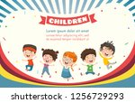vector illustration of happy... | Shutterstock .eps vector #1256729293