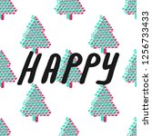 fir tree seamless pattern... | Shutterstock . vector #1256733433