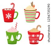 set of winter holiday cup with...   Shutterstock .eps vector #1256735290
