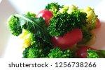 best vagan food on white plate...   Shutterstock . vector #1256738266