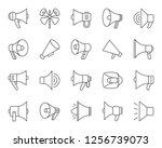 megaphone thin line icons set.... | Shutterstock .eps vector #1256739073