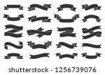 ribbon silhouette icons set.... | Shutterstock .eps vector #1256739076