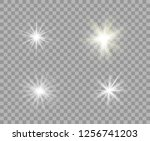 set white and yellow luminous... | Shutterstock .eps vector #1256741203