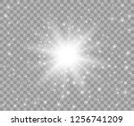 glowing white transparent light ... | Shutterstock .eps vector #1256741209