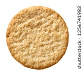 Small photo of Top view wheat cracker. A single piece whole meal oat biscuit isolated on white background.