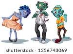 set of zombie character... | Shutterstock .eps vector #1256743069