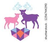 a couple of reindeer in love... | Shutterstock .eps vector #1256744290