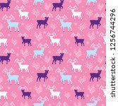 pink winter reindeer folk... | Shutterstock .eps vector #1256744296