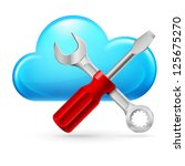 Single cumulus  Cloud and Tools. Illustration on white background - stock vector
