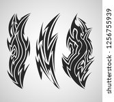 tribal tattoo set  solid black... | Shutterstock .eps vector #1256755939