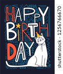 happy birthday vector card with ... | Shutterstock .eps vector #1256766670