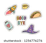 cute sticker  patches design set | Shutterstock . vector #1256776276