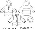 winter jacket padding quilting... | Shutterstock .eps vector #1256785720