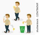 man eating banana  tossing... | Shutterstock .eps vector #1256786569