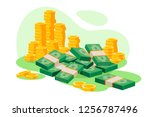 isometric 3d golden coins  cash ... | Shutterstock .eps vector #1256787496