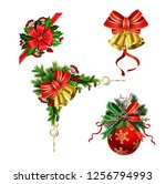 christmas festive decoration... | Shutterstock .eps vector #1256794993