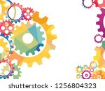 abstract techno gear background ... | Shutterstock .eps vector #1256804323
