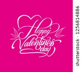 happy valentines day lettering | Shutterstock .eps vector #1256814886