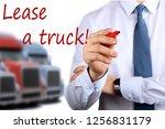 businessman leasing a new truck ... | Shutterstock . vector #1256831179