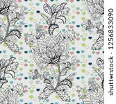 cute floral pattern in the... | Shutterstock . vector #1256833090