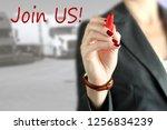 businesswoman  inviting  new... | Shutterstock . vector #1256834239
