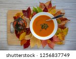 tasty pumpkin bright orange... | Shutterstock . vector #1256837749