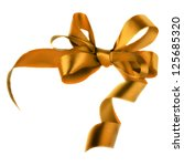 golden satin gift bow. ribbon.... | Shutterstock . vector #125685320