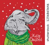 merry christmas new year's card ... | Shutterstock . vector #1256865646