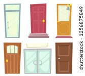 doors icons set house cartoon...   Shutterstock . vector #1256875849