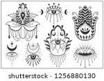 evil seeing eye symbol set.... | Shutterstock .eps vector #1256880130