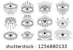 evil seeing eye symbol set.... | Shutterstock .eps vector #1256880133
