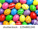 many decorated easter eggs as... | Shutterstock . vector #1256881240