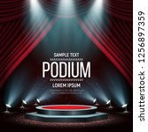 podium with curtain on bright... | Shutterstock .eps vector #1256897359