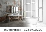 an industrial style bathroom... | Shutterstock . vector #1256910220