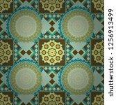 seamless pattern in blue ... | Shutterstock .eps vector #1256913499