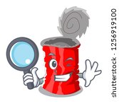 detective tin can isolated on a ... | Shutterstock .eps vector #1256919100