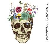 flower vase made in skull .... | Shutterstock .eps vector #1256923579