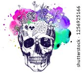 flower vase made in skull .... | Shutterstock . vector #1256925166