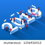 social work crowd sitting on... | Shutterstock .eps vector #1256926513
