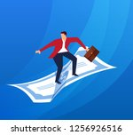 businessman standing on money... | Shutterstock .eps vector #1256926516