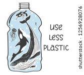 aquatic animals in the bottle... | Shutterstock .eps vector #1256928076