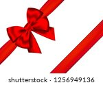 red realistic gift bow with... | Shutterstock .eps vector #1256949136