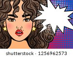 shocked pop art girl. surprised ... | Shutterstock . vector #1256962573