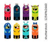 garbage can set for children... | Shutterstock . vector #1256962660