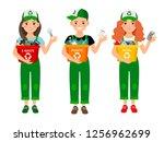 kids learning recycle trash... | Shutterstock . vector #1256962699