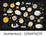 vector set  with cute cartoon... | Shutterstock .eps vector #1256974279