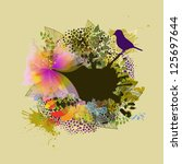 Floral Abstraction With Bird....