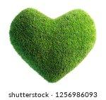 green leaves in heart shape... | Shutterstock . vector #1256986093
