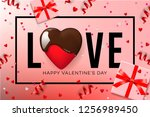 web banner for valentine's day. ... | Shutterstock .eps vector #1256989450